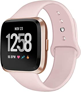 Kmasic Sport Band Compatible with Fitbit Versa/Fitbit Versa 2/Fitbit Versa Lite Edition, Soft Silicone Strap Replacement Wristband Versa Smart Fitness Watch, Large Small