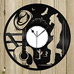 Sharp Atomic Wall Clock, Country Music Vinyl Wall Clock Unique Design Music Lovers Gift Home Decoration Vintage Design Office Bar Room Home Decor