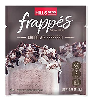 Hills Bros. Frappés, Chocolate Espresso Drink Mix, 12 Count (2.3 oz Packets) – Gluten Free, Kosher Certified, Easy to Make, Rich and Decadent