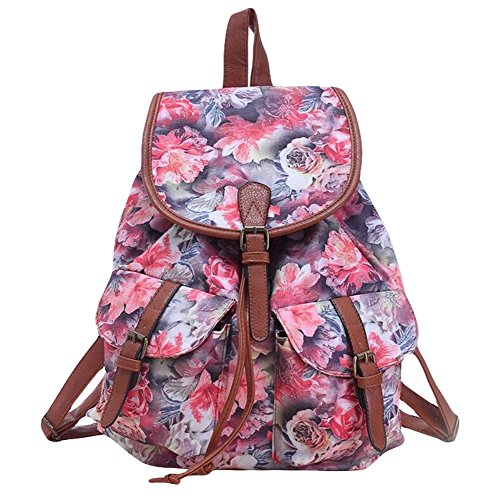lumanuby 1x Mode pastoralen estilo Rose de mochila escolar para mujer/chica lona ocio Mochilas 38* 34* 15cm, cordón Funda Serie