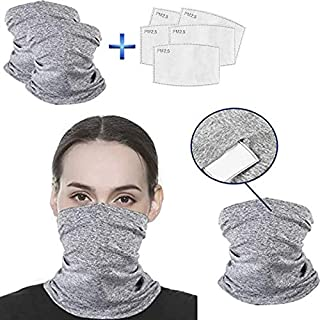 Jnvny 2 Pcs Multi-Purpose Neck Gaiter Face Cover Bandanas Scarf Headwear with PM2.5 Filters Anti Dust for Outdoors