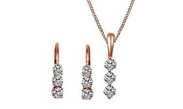 Jewel Zone US 3 Stone Natural Diamond Earrings & Pendant Necklace Set 14K Solid Gold (7/8 Ct)