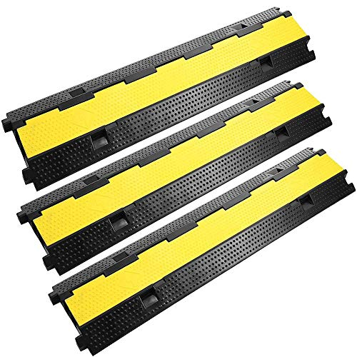 Reliancer 3 Pack Dual Channel Rubber Cable Protector Ramp 2 Channel Traffic Speed Bump 11000lbs Capacity Heavy Duty Driveway Hose Cover Ramp Cord Track Protector Wires Concealer w/Flip-Open Top Cover