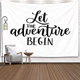 Jacrane Christmas Tapestry Wall Hanging with 50x60 Inches Christmas Let The Adventure Begin Motivational Inspirational Art Tapestries for Bedroom Living Room Home Decor Wall Hanging Tapestries