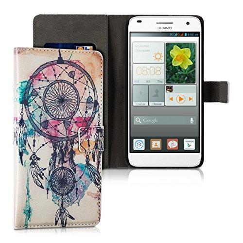 kwmobile Huawei Ascend G7 Hülle - Kunstleder Wallet Case für Huawei Ascend G7 mit Kartenfächern & Stand - Traumfänger Kleckse Design Mehrfarbig Blau Weiß
