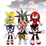 10.6/13.4in Toy Factory Sonic Plush,4Pcs Classic Vivid Sonic Plush Toys Set for Fans (Knuckles The Echidna+Silver+Miles Prower+AmyRose+Shadow+Sonic)
