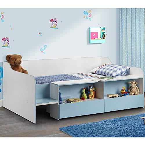 Happy Beds Cabin Bed Low Sleeper Blue Storage Frame Bedroom Kids Comfort 3' Single 90 x 190 cm