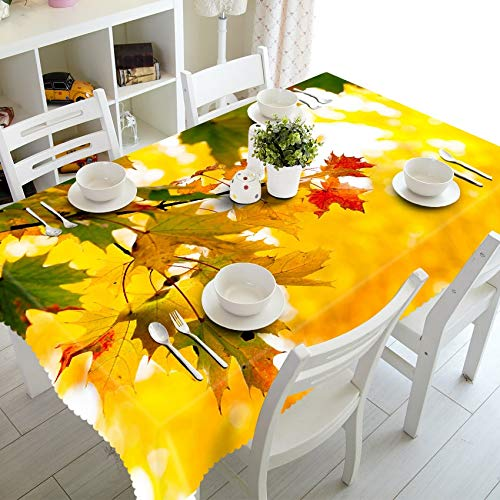 XXDD Forest Landscape 3d Tablecloth Yellow Parasol Trees Pattern Washable Cotton Rectangular Tablecloth for Wedding variation A5