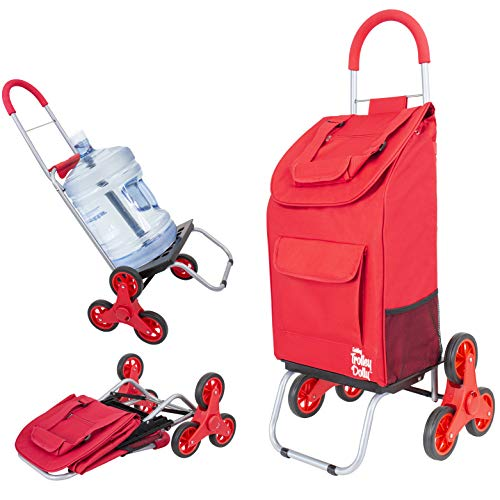 dbest products Stair Climber Trolley Dolly Folding Grocery Cart 3 wheels Heavy Duty Shopping Hand Truck made for Condos Apartments,39 inch Handle Height, 17.25' x 15.25' x 39.5', Red