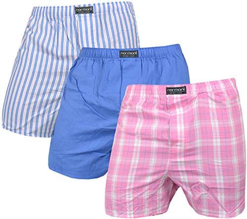 normani 6 Boxershorts 100% Baumwolle - Schön kariert, gewebt US Style Webboxer in modischen Farben und Kombinationen für den Herren dem Jungen, Unterhose aus gewebtem Material Farbe Blau/Pink Größe M