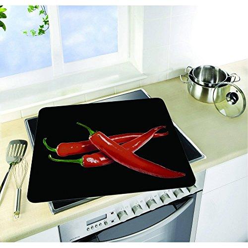 WENKO 2712918100 motief plaat Hot Peperoni, afdekplaat voor keramische kookplaten, snijplank, gehard glas, 5650 x 50 x 0.556 cm, meerkleurig
