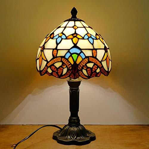 Lámpara de Mesa Estilo Tiffany de 8 Pulgadas Simple, Estilo mediterráneo Europeo Restaurante Bar Café pequeña Vidrio con Pantalla de Vidrio (Color : Beige)