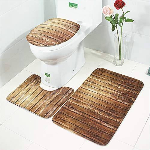 European-Style Non-Slip Absorbent Mites Removal Mat, Simple Printing Toilet 3-Piece Set, Comfortable And Soft Bathroom Toilet Carpet