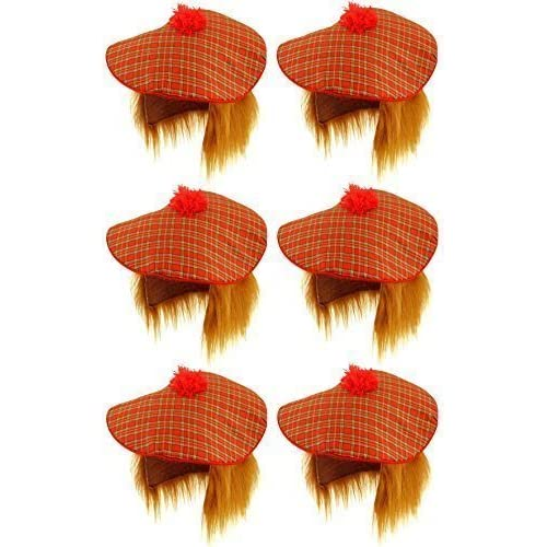 12334f4b 6 x Scottish Tam O Shanter Tartan Hat with Ginger Hair Mens Fancy Dress  Adult Unisex