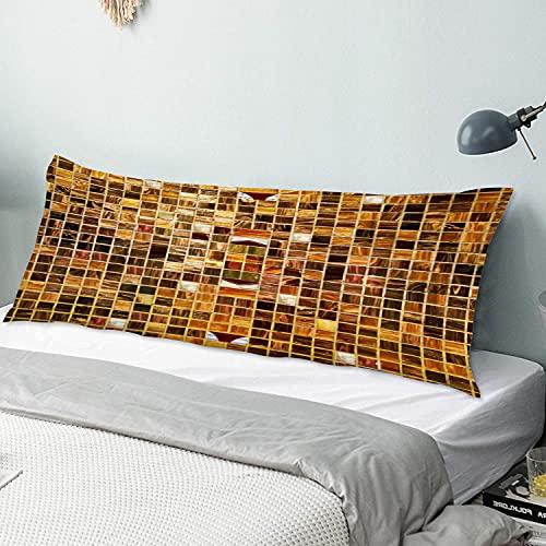 Funda de Almohada para el Cuerpo,Azulejos de Mosaico de Oro, Funda de Almohada Larga con Cierre de Cremallera Funda de cojín Decorativa para sofá Sofá Dormitorio Coche 20 'x 54'