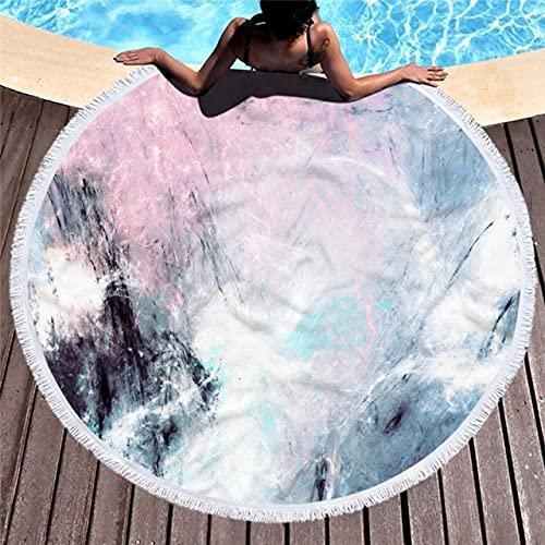IAMZHL Asciugamano da Spiaggia in Microfibra con Motivo in Marmo Rotondo Asciugamano da Yoga ad Acquerello Grande con Copertura per Tappetino da Spiaggia in Nappa-a17-Diameter 150cm