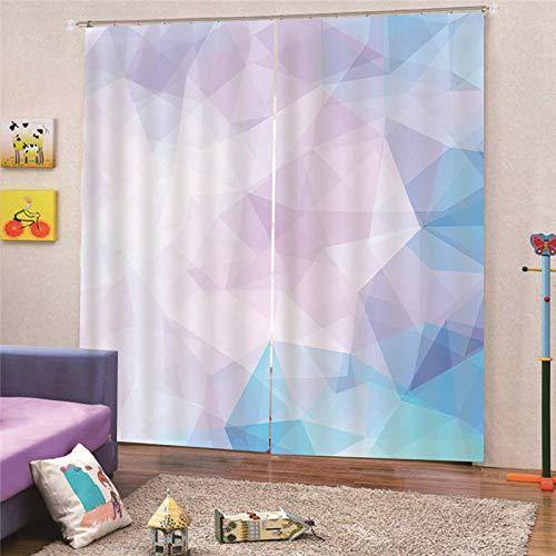 QRTQ kamer thermische geïsoleerde verduisterende venster gordijn voor woonkamer kleurrijke driehoek patroon 3D effect afdrukken gordijn woonkamer slaapkamer raam gordijnen