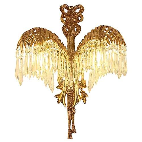 LBMTFFFFFF Novedad Soporte para Lámpara de Pared Luz Todo Re Cristal Francés Europeo Lujo Living Telón de Fondo Dormitorio Cabeza Iluminación de Pared Pasillo 38 X 50 X 22Cm