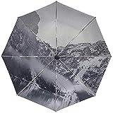 Paraguas automático Montañas Lago Niebla Viaje Conveniente A Prueba de Viento Impermeable Plegable Automático Abrir Cerrar