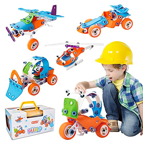 HomeTTER STEM Toys, Building Blocks Engineering Kit for Kids, DIY 5 in 1 Educational Building Set, Construction Toy for 5 6 7 8 9 10+ Years Old Boys and Girls, 132 Pieces Creative Learning Games