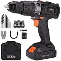 Tacklife 20V Cordless Drill/Driver with 16+3 Torque Setting, 1 Hour Fast Charger, 2.0Ah, 1/2
