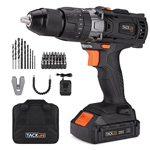 """TACKLIFE 20V Cordless Drill, 35N.m, Hammer Drill with 16+3 Torque Setting, 1 Hour Fast Charger, 2.0Ah, 1/2"""" Metal Chuck, 43pcs Accessories, Variable Speed, 3-In-1 Drill - PCD04B"""
