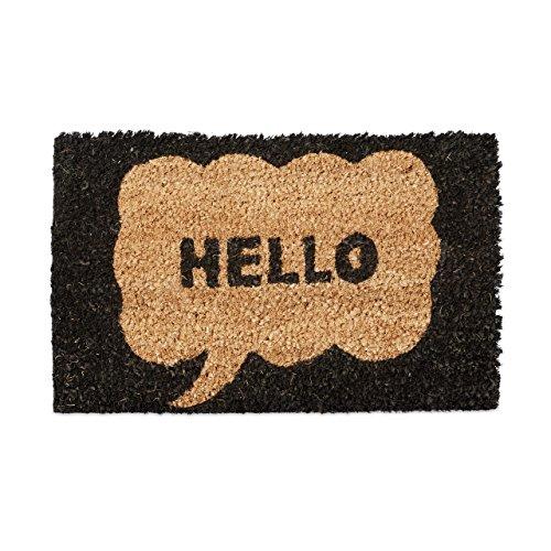 Relaxdays – Felpudo en Miniatura para niños, 1.5 x 40 x 25 cm, Fibra de Coco y PVC, Antideslizante, Motivo: Hello