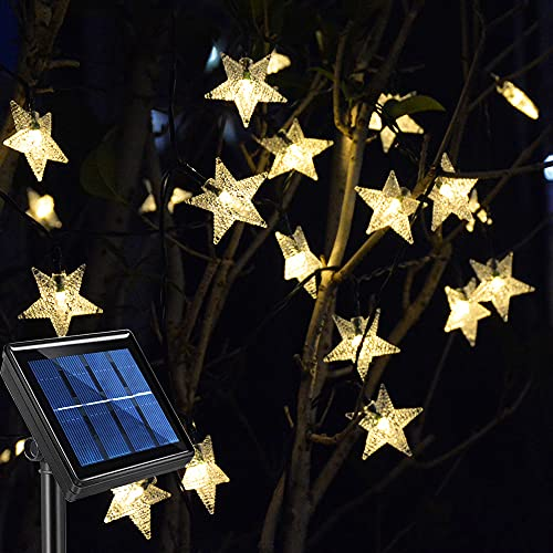 Homeleo Solar Garden Fairy Lights,Outdoor Waterproof Star String Lights for Pathway Trees Patio Umbrella Yard Christmas Decoration(Warm White,8 Meters,50 LEDs)