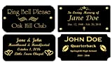 2' H x 4' W, Black Brass Name Plate, Gold Text Engraved Brass Trophy Base Sign Nameplate Memorial Tag Personalized Custom Logo, Made in USA