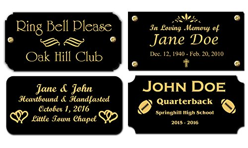 """2"""" H x 4"""" W, Black Brass Name Plate, Gold Text Engraved Brass Trophy Base Sign Nameplate Memorial Tag Personalized Custom Logo, Made in USA"""