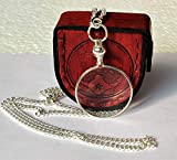 Castle Instruments Silver Coated Magnifying Glass, Optical Magnifier Lens with A Beautiful Necklace Chain Monocle for Library Reading Fine Print Zooming Increase Vision Jewelry ()