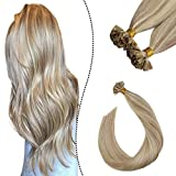 Ugeat Highlighted Extensiones de Cabello Humano Rubio Ceniza con Rubio Blanqueador #P18/613 60cm Brazilian Keratin Extensions Hot Fusion Human Hair 1G 50S