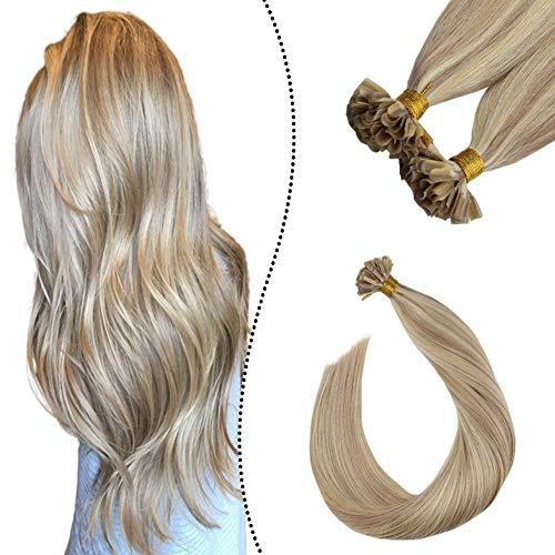 Ugeat Highlighted Extensiones de Cabello Humano Rubio Ceniza con Rubio Blanqueador #P18 613 55cm Brazilian Keratin Extensions Hot Fusion Human Hair 1G 50S