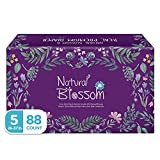 Natural Blossom Baby Diapers Size 5 (26-37lbs) Super Soft Hypoallergenic Ultra-Slim Disposable Diaper for Sensitive Skin (88 ct)
