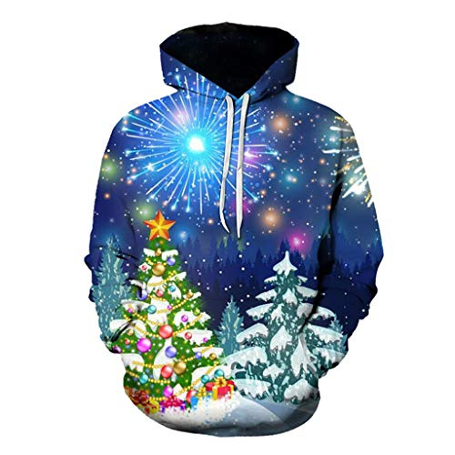 Dasongff Unisex kerstpullover grote maten Merry Christmas hoodie hoodie 3D capuchon pullover grappige pullover kerstpullover sweatshirts Kerstmis hoodie outwear S-6XL Small blauw