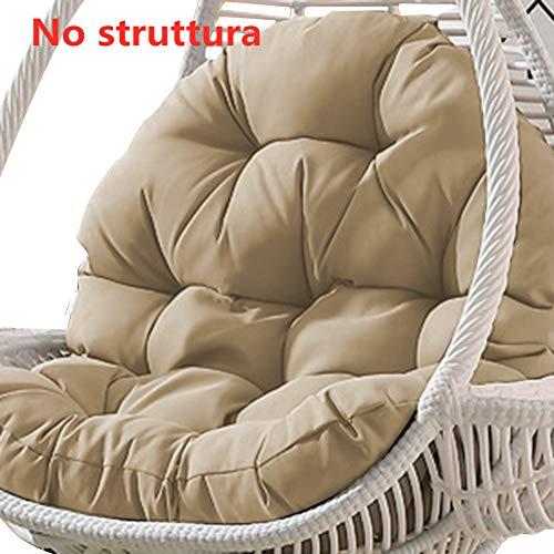 Nido D'uovo Sagomato Cuscini, Cestino Cuscini Vimini in Rattan Swing Cuscini per Appendere L'amaca Cerniera Lavabile Cuscino- Niente sedie-90x120 cm,Dive