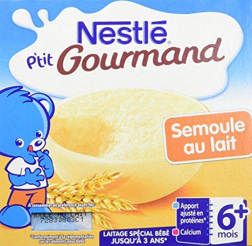 Nestlé Bébé P'tit Gourmand Semoule au Lait - Laitage - 4 x 100g - Dès 6 mois