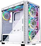 MUSETEX ATX Mid-Tower Computer Gaming Case with 6 PCS × 120mm LED ARGB Fans USB 3.0 Port Tempered Glass PC Chassis(G05S6-BB)