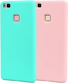 Funda HuaWei P9 Lite, Carcasa HuaWei P9 Lite Silicona Gel, OUJD Mate Case Ultra Delgado TPU Goma Flexible Cover para HuaWei P9 Lite - Cielo azul + rosa