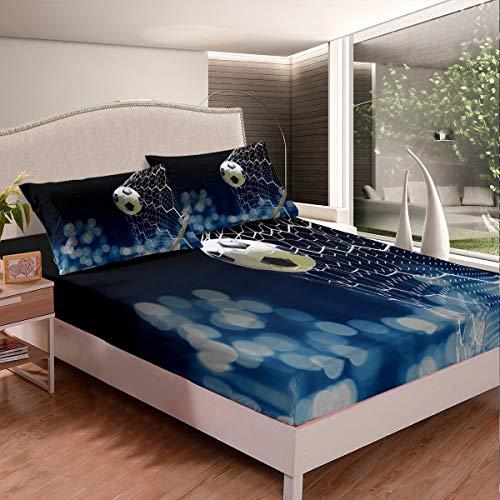 Juego de sábanas de fútbol con estampado de balón de fútbol, juego de sábanas para decoración de habitación de 3 hojas de doble tamaño