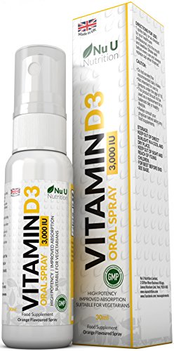 Vitamin D3 Spray 3,000 IU 30ml | Double The Size of Competing Brands | Natural Orange Flavoured | High Potency | Improved Absorption Vegetarian Vitamin D3 Spray by Nu U Nutrition