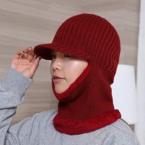 Sombrero de punto de lana para hombre babero de invierno sombrero de una pieza sombrero de cobertura para mujer gorra de una pieza con protector de cuello para niño grande-vino tinto-Espesar