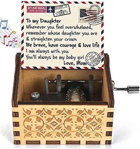 Star Heaven Caja de música de madera para hija de mamá | Regalos de hija de mamá | Caja de música con texto en inglés 'You are My Sunshine' | Cumpleaños Día de San Valentín para hija, mujeres y niñas