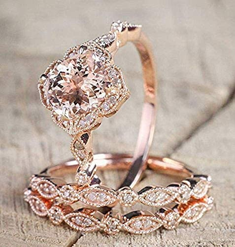 2 25 Carat Morganite and Diamond Trio Wedding Ring Set On Rose Gold with Engagement Ring and product image