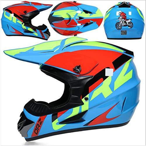 ZCAYIN Motocross Helm + Handschuhe + Brille + Gesichtsschutz, AM Mountainbike Integralhelm Fahren Offroad Motorrad MX Helm DOT Helm (Color : Motorcycle Helmet 4, Size : L)
