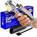 "Orblue Garlic Press [Premium], Stainless Steel Mincer, Crusher & Peeler Set-Professional Grade, Easy Clean, Dishwasher Safe & Rust-proof, 7.5"""", Metal, Black"