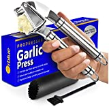Orblue Garlic Press [Premium], Stainless Steel Mincer, Crusher & Peeler Set-Professional Grade, Easy Clean, Dishwasher Safe & Rust-proof, 7.5'', Metal, Black