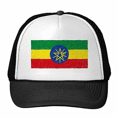 DIYthinker Rood Geel Groen Strepen Ethiopië Vlag Nationale Culturele Element Trucker Hoed Baseball Cap Nylon Mesh Hoed Verstelbare Cap