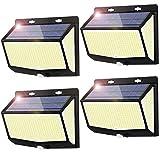 Luz Solar Exterior 468 LED Luces LED Solares Exteriores con Sensor de Movimiento y 3 Modos de Iluminación, 270º lluminación Foco Solar Exterior, Impermeable IP65 Lámpara Solar para Jardin,4-Paquete