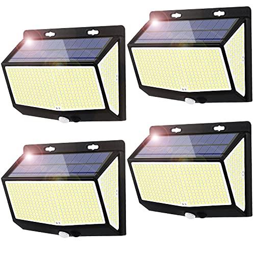 Luz Solar Exterior 468 LED Luces LED Solares Exteriores con Sensor de Movimiento y 3 Modos de Iluminación, 270º...